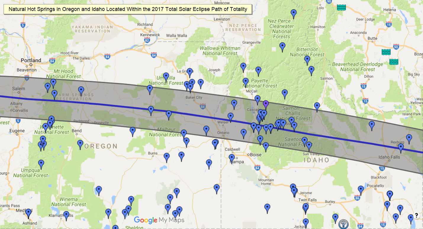 Idaho Hot Springs Map NW Hot Springs in the Path of Totality   2017 Solar Eclipse